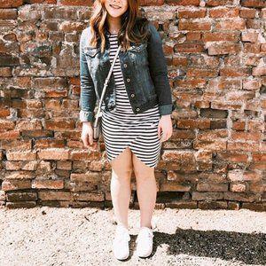 Ambiance Black & White Striped Petal-Front Dress